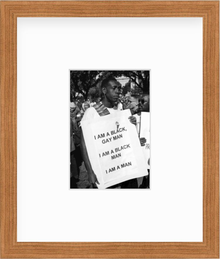 Million Man March Man with Sign in a wood frame