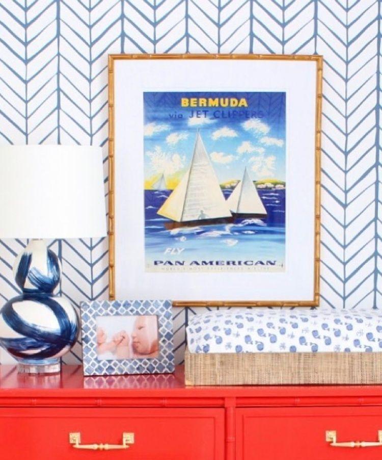 Vintage Bermuda Travel Poster in Gold Bamboo Frame