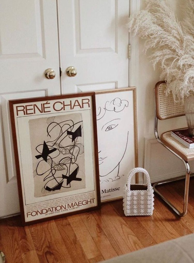 Vintage French Posters in wood and gold frames
