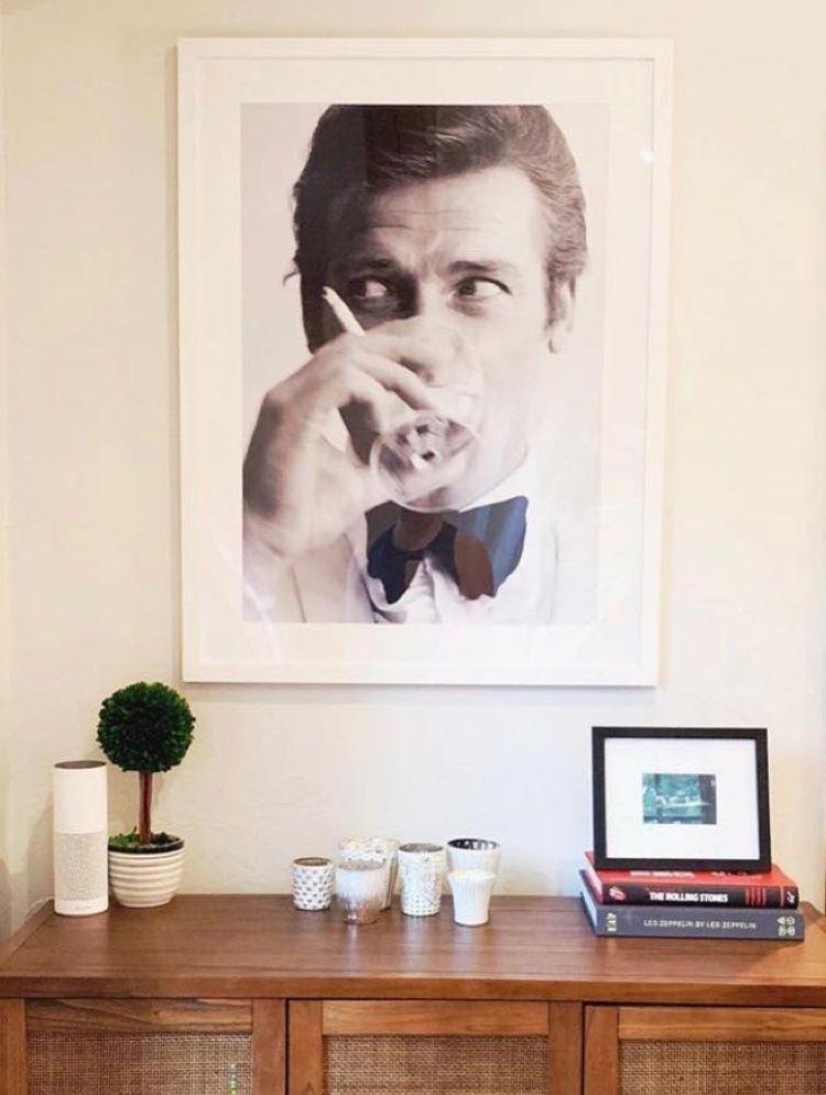 Roger Moore James Bond Black and White Poster in White Gallery Frame