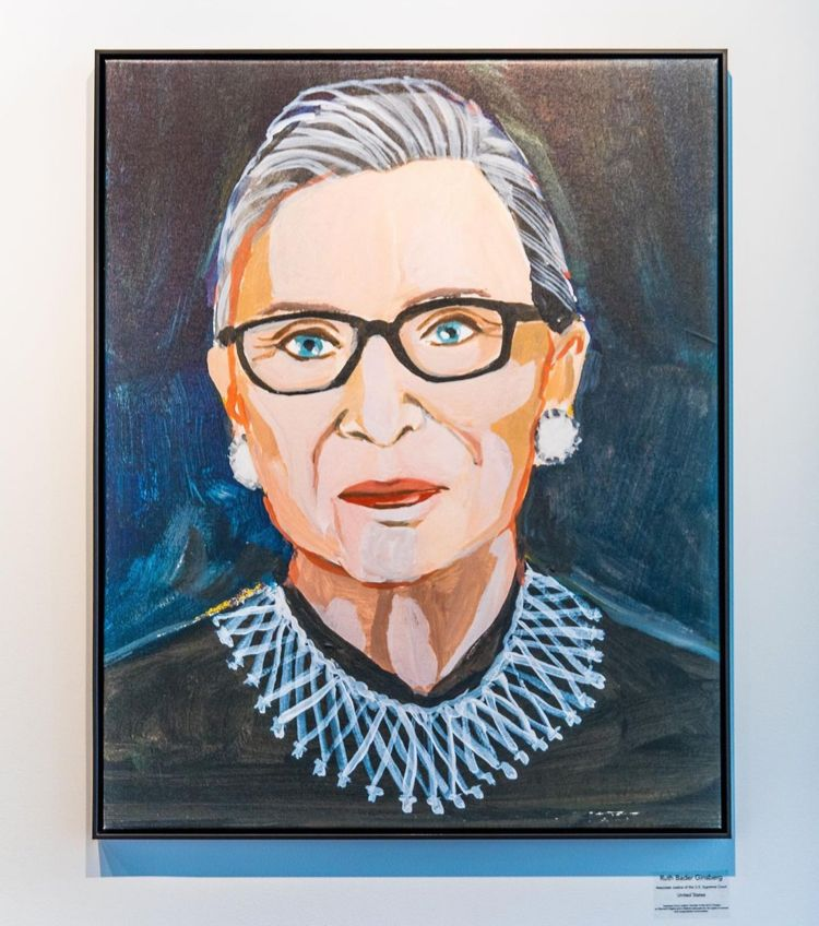 Painting on canvas of Ruth Bader Ginsburg from the Kennedy Center in Washington, D.C. 2020