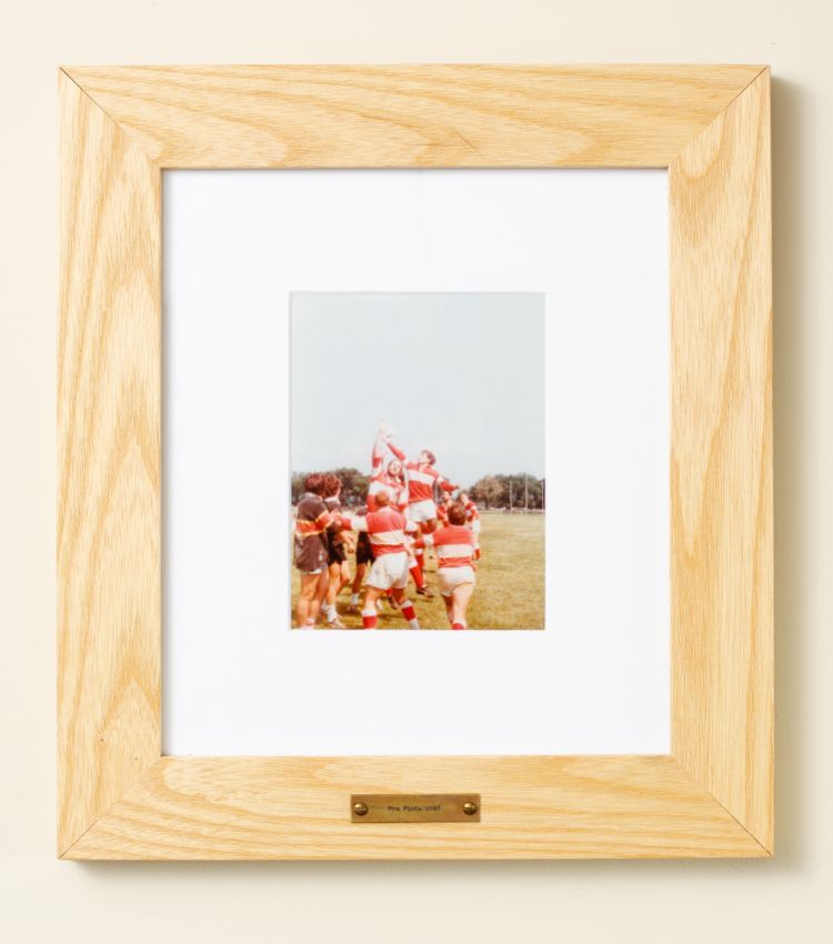 Personalized hardwood frame, vintage photo in wide wood frame