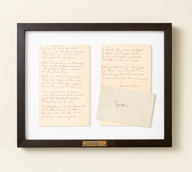 Handwritten letters in personalized black frame