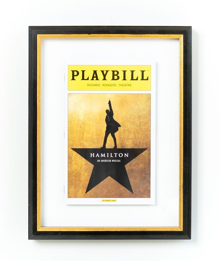 Hamilton Playbill Framed in Classic Black and Gold Frame