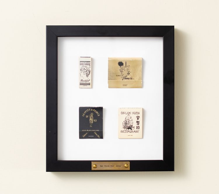 Personalized black frame, vintage matchbooks in black frame