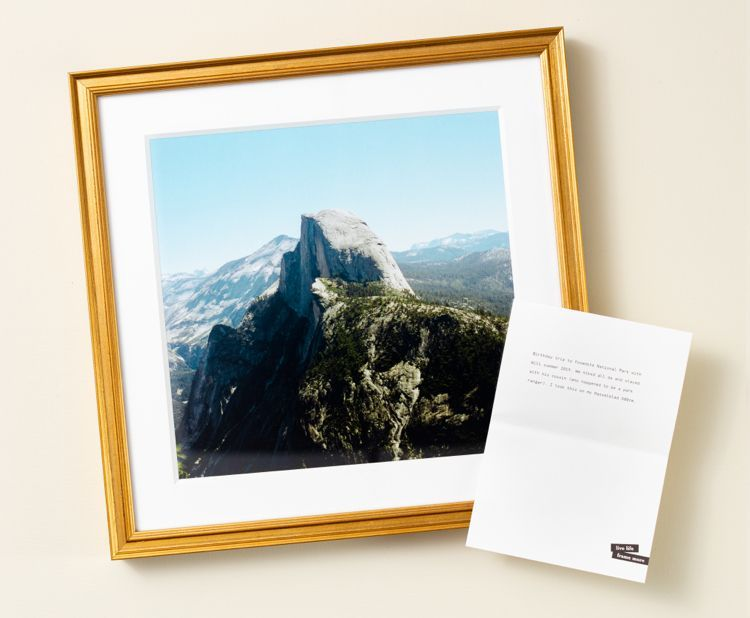 Personalized gold frame with photo of Yosemite National Park