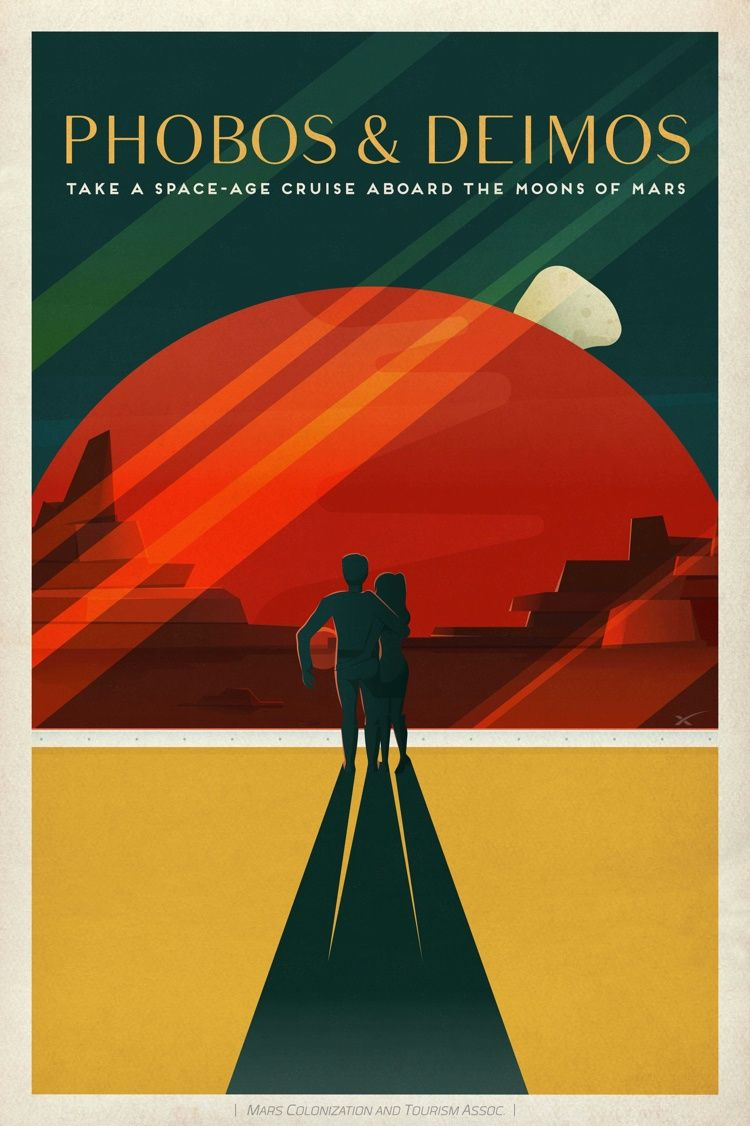 Free Downloadable SpaceX Poster featuring Phobos & Deimos on the Framebridge Blog